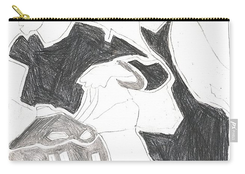 Drawing Carry-all Pouch featuring the drawing Red Detachment Of Women D1 by Artist Dot