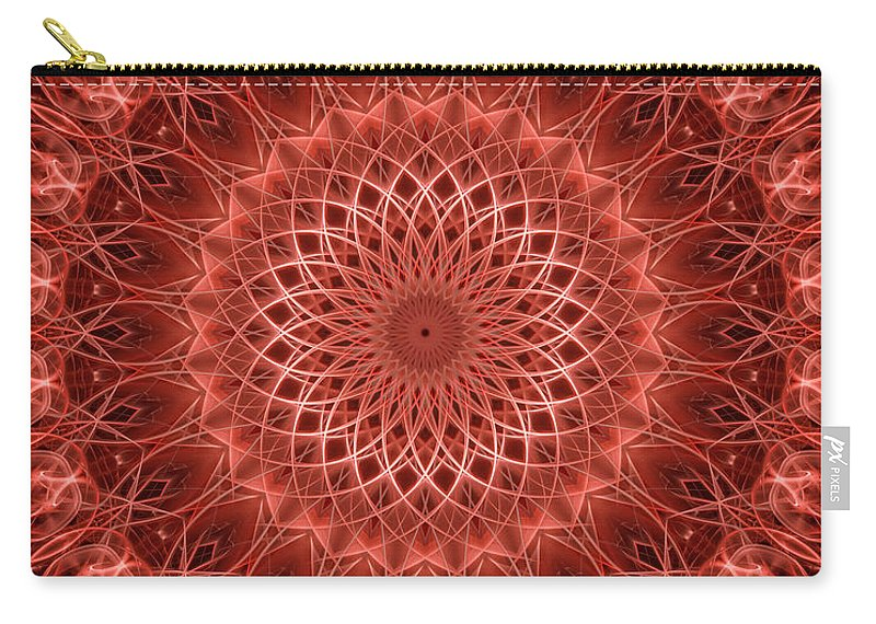 Mandala Carry-all Pouch featuring the digital art Red Detailed Mandala by Jaroslaw Blaminsky
