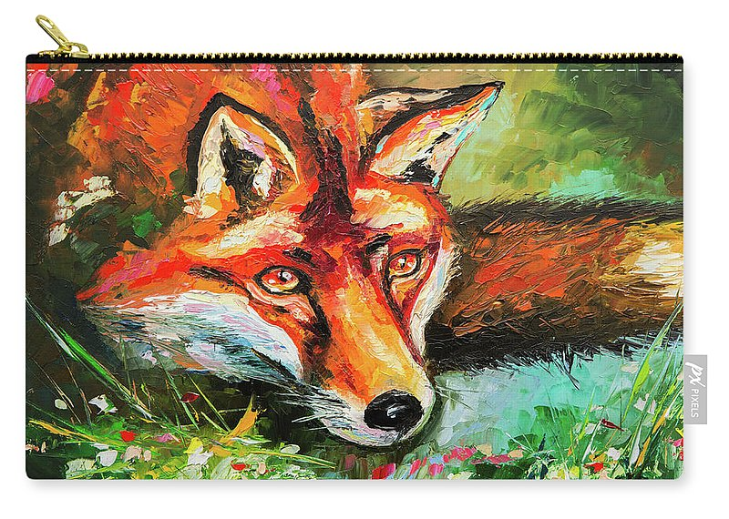Animals Carry-all Pouch featuring the painting Red Hunter by Liubov Kuptsova