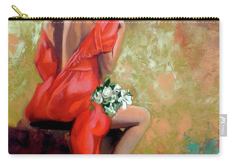 Women Carry-all Pouch featuring the painting Red Lady 2 by Jose Manuel Abraham