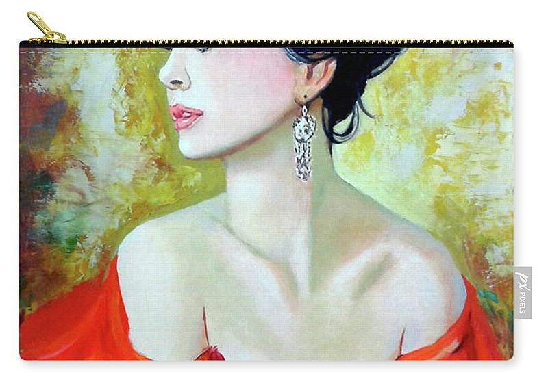 Lady Carry-all Pouch featuring the painting Red Lady by Jose Manuel Abraham