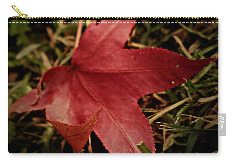 Red Carry-all Pouch featuring the photograph Red Leaf by Pics by Jody Adams