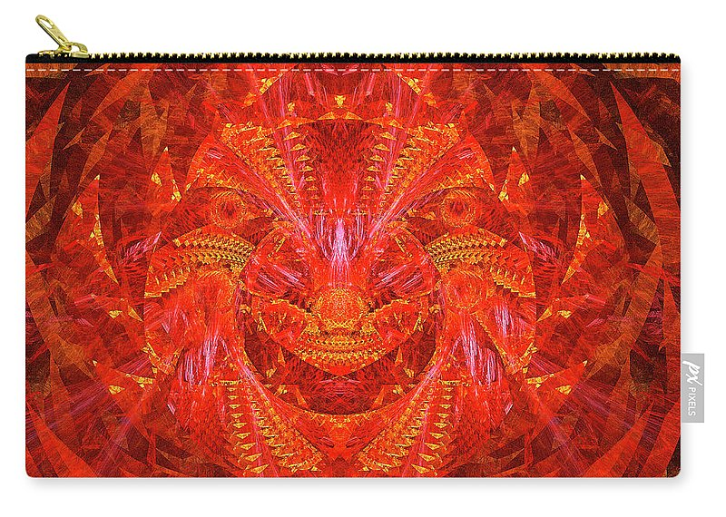 Red Lion Carry-all Pouch featuring the digital art Red Lion by Moshe Ruzhinsky
