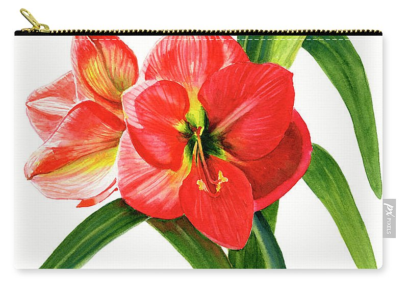 Red Carry-all Pouch featuring the painting Red-orange Amaryllis by Sharon Freeman