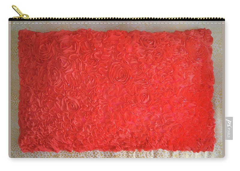 Red Carry-all Pouch featuring the photograph Red Pillow, Decorative. Ameynra Home Decor by Sofia Metal Queen