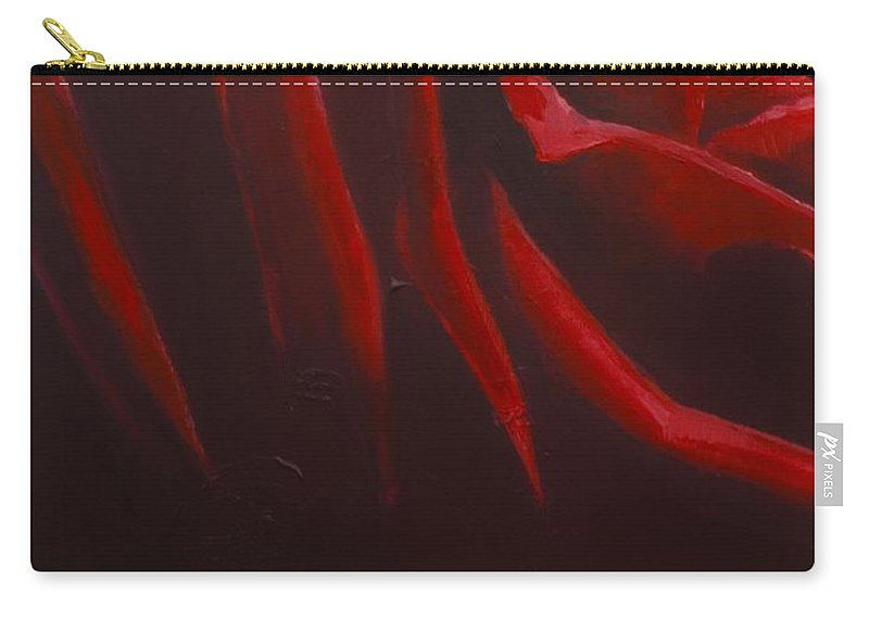 Lin Petershagen Carry-all Pouch featuring the painting Red Roses part 1 by Lin Petershagen