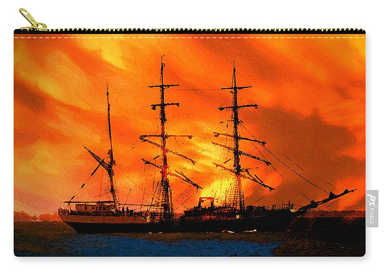 Red Sky At Morning Sailor Take Warning Carry-all Pouch featuring the painting Red Sky At Morning by David Lee Thompson
