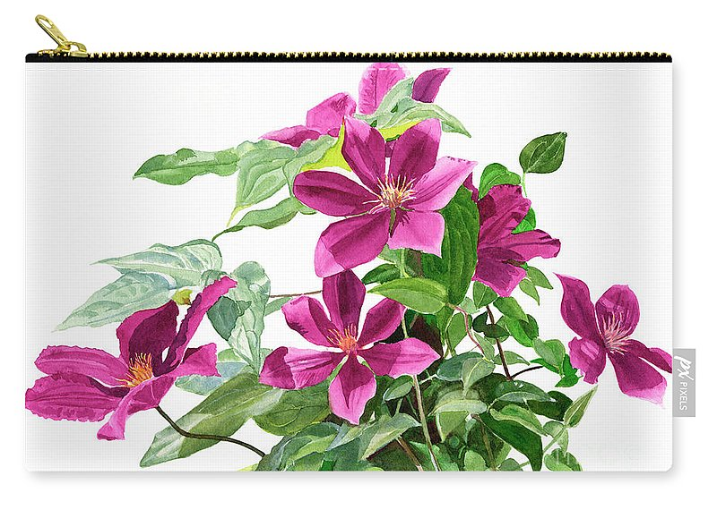 Red Carry-all Pouch featuring the painting Red Violet Clematis by Sharon Freeman
