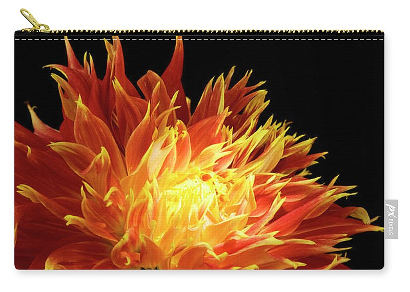 Firework Display Carry-all Pouch featuring the photograph Red-yellow Dahlia Flower by Eyepix
