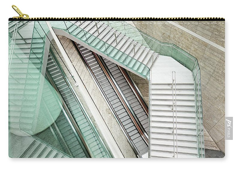 Long Carry-all Pouch featuring the photograph Reflected Modern Architecture - Winding by Georgeclerk