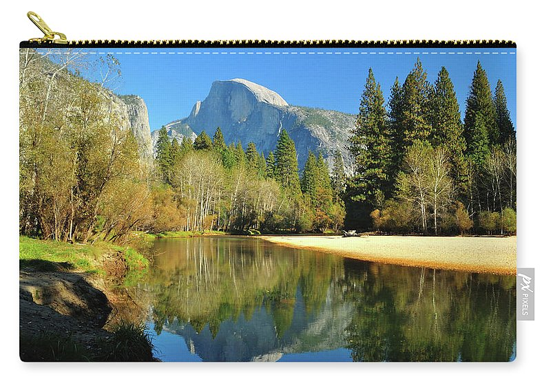 Scenics Carry-all Pouch featuring the photograph Reflections Of Half Dome by Sandy L. Kirkner