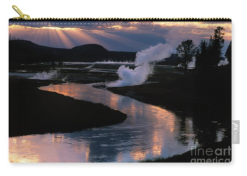 Landscape Carry-all Pouch featuring the photograph Reflections On The Firehole River by Sandra Bronstein