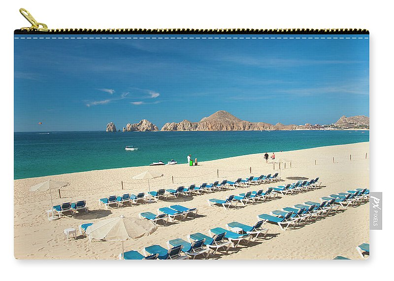 Water's Edge Carry-all Pouch featuring the photograph Resort Beach Chairs by Christopher Kimmel