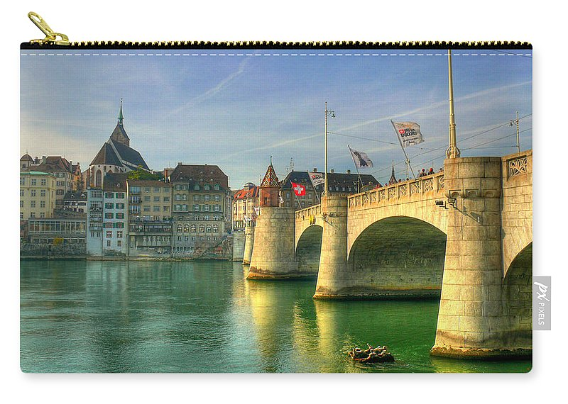Outdoors Carry-all Pouch featuring the photograph Rhine Bridge In Basel by Richard Fairless