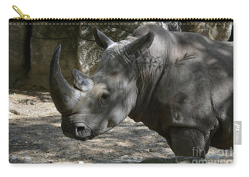 Rhino Carry-all Pouch featuring the photograph Rhino Standing In The Shade On A Summer Day by DejaVu Designs