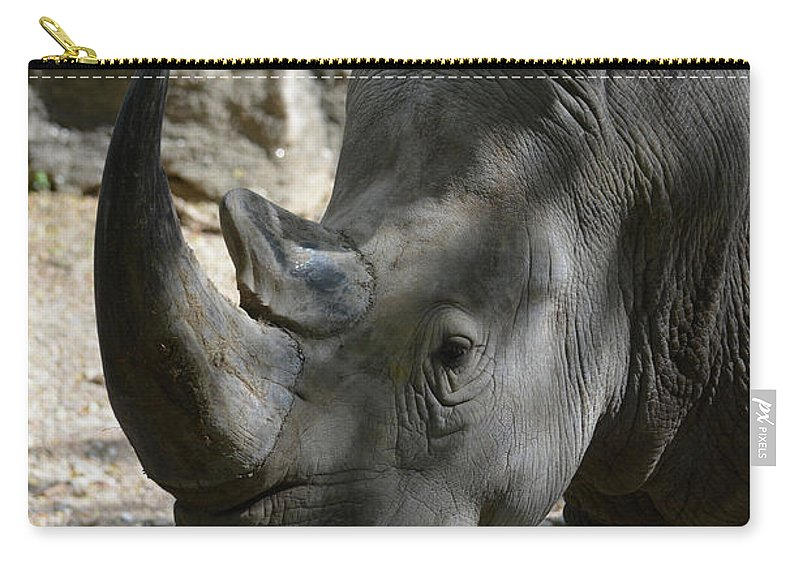 Rhino Carry-all Pouch featuring the photograph Rhinoceros With Two Horns Up Close And Personal by DejaVu Designs