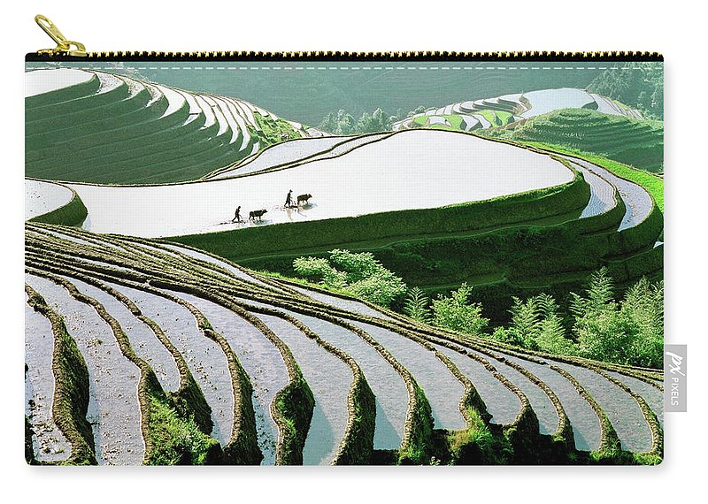Chinese Culture Carry-all Pouch featuring the photograph Rice Terraces by Kingwu