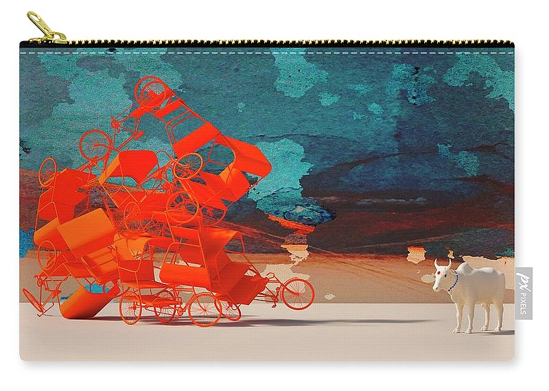 Rickshaw Carry-all Pouch featuring the digital art Rickshaw Pileup and Cow by Heike Remy