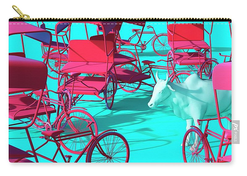 Rickshaw Carry-all Pouch featuring the digital art Rickshaws and Cow by Heike Remy
