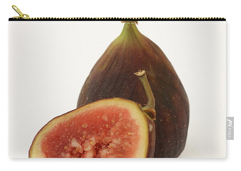 White Background Carry-all Pouch featuring the photograph Ripe, Fresh Figs On White Background by Rosemary Calvert
