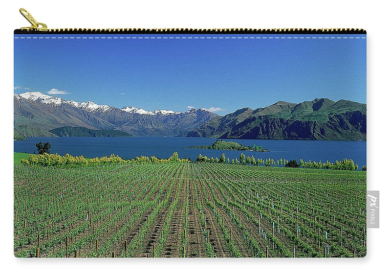 Snow Carry-all Pouch featuring the photograph Rippon Vineyard & Lake Wanaka, South by Robin Smith