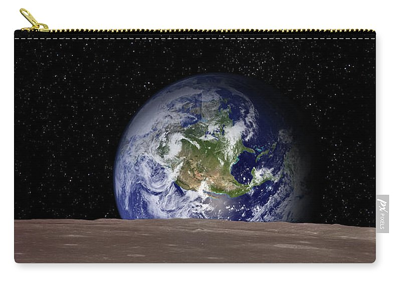 Landscape Carry-all Pouch featuring the photograph Rising Earth Over Moon Surface by Photovideostock