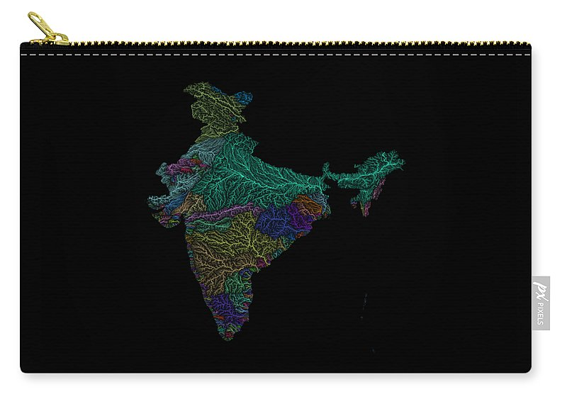 Map Print Carry-all Pouch featuring the digital art River Basins Of India In Rainbow Colours by Grasshopper Geography
