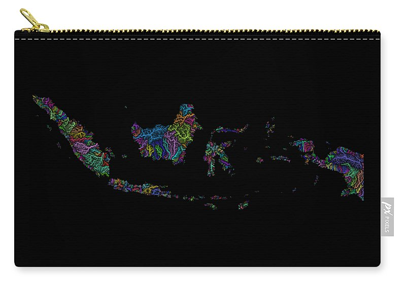 Map Print Carry-all Pouch featuring the digital art River Basins Of Indonesia In Rainbow Colours by Grasshopper Geography