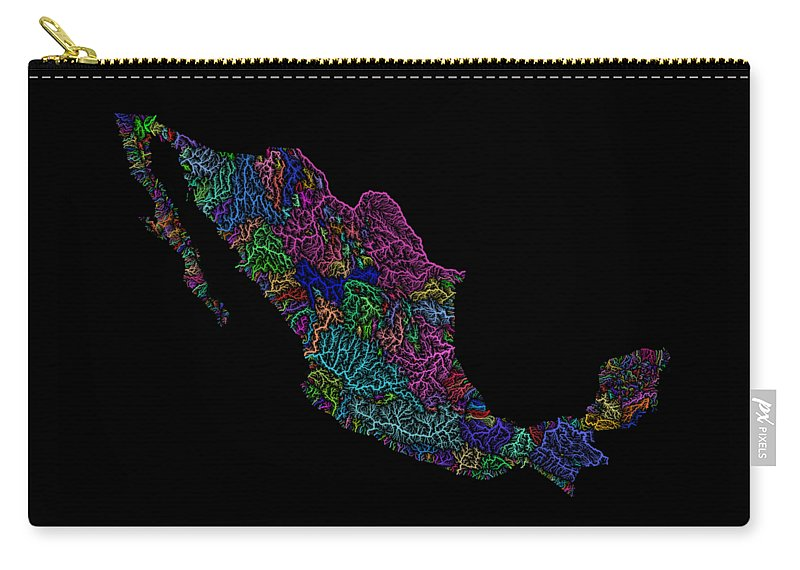 Map Print Carry-all Pouch featuring the digital art River Basins Of Mexico In Rainbow Colours by Grasshopper Geography
