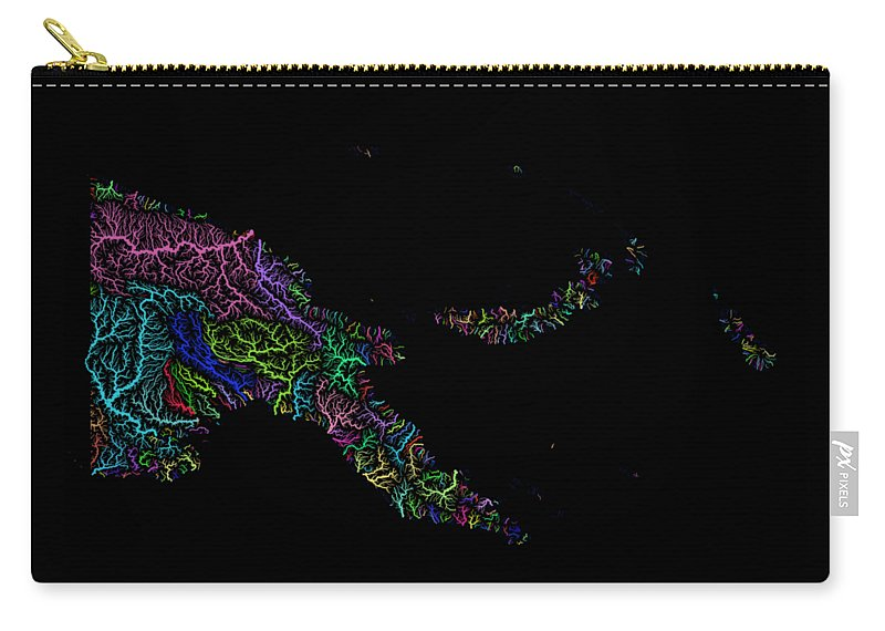 Map Print Carry-all Pouch featuring the digital art River Basins Of Papua New Guinea In Rainbow Colours by Grasshopper Geography
