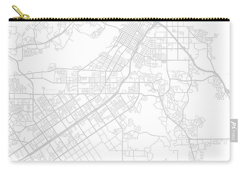 Riverside Carry-all Pouch featuring the mixed media Riverside California City Map Black and White Street Series by Design Turnpike