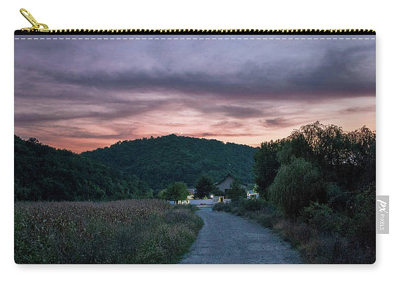 Road Carry-all Pouch featuring the photograph Road To Sunset by Yordan Nedialkov