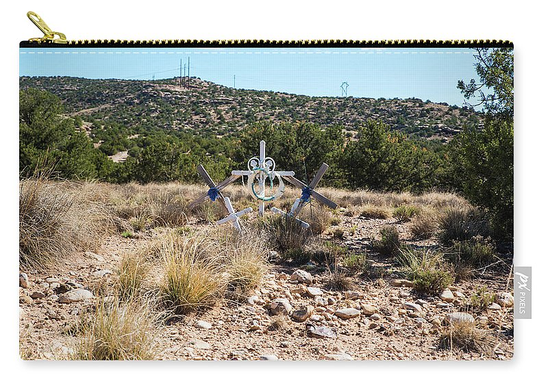 Roadside Memorial With Five Crosses Carry-all Pouch featuring the photograph Roadside Memorial With Five Crosses by Tom Cochran