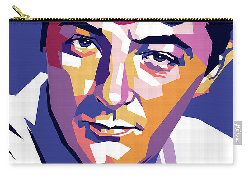 Robert Carry-all Pouch featuring the digital art Robert Mitchum by Stars on Art