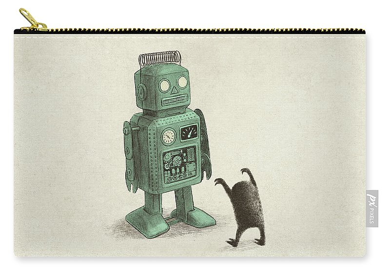 Vintage Carry-all Pouch featuring the drawing Robot Vs Alien by Eric Fan