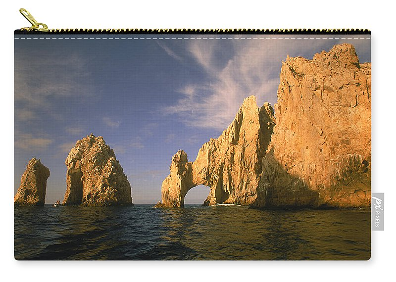 Scenics Carry-all Pouch featuring the photograph Rock Formations, Cabo San Lucas, Mexico by Walter Bibikow
