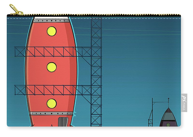 Taking Off Carry-all Pouch featuring the digital art Rocket On Launch Pad by Jcgwakefield