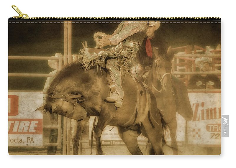 Rodeo Rider Bronco Busting Carry-all Pouch featuring the digital art Rodeo Rider Bronco Busting Sepia One by Randy Steele