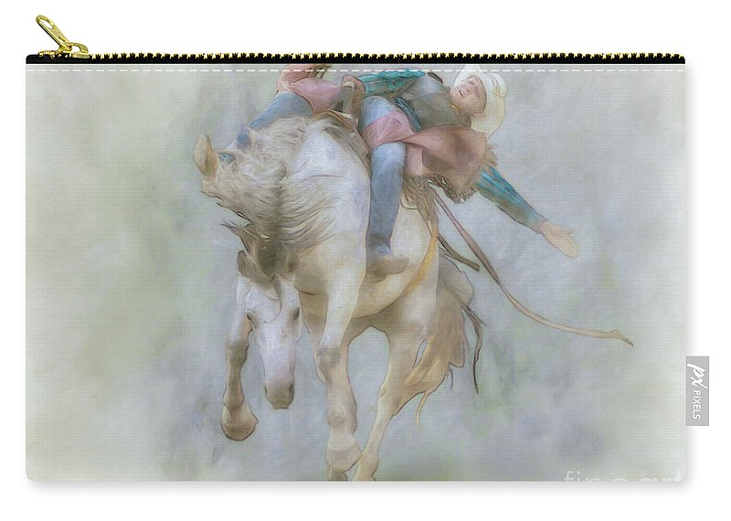 Rodeo Rider Bronco Busting Carry-all Pouch featuring the digital art Rodeo Rider Bronco Busting Two by Randy Steele