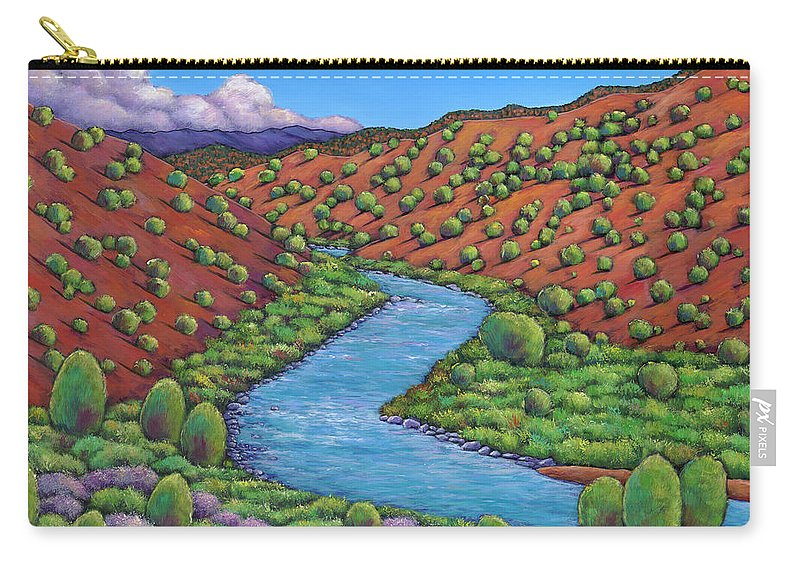 Landscape Carry-all Pouch featuring the painting Rolling Rio Grande by Johnathan Harris
