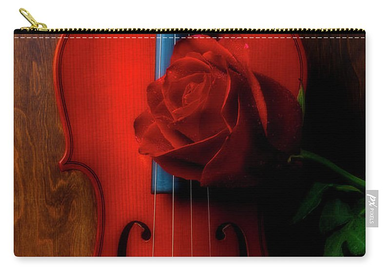 Violin Carry-all Pouch featuring the photograph Romantic Rose With Violin by Garry Gay