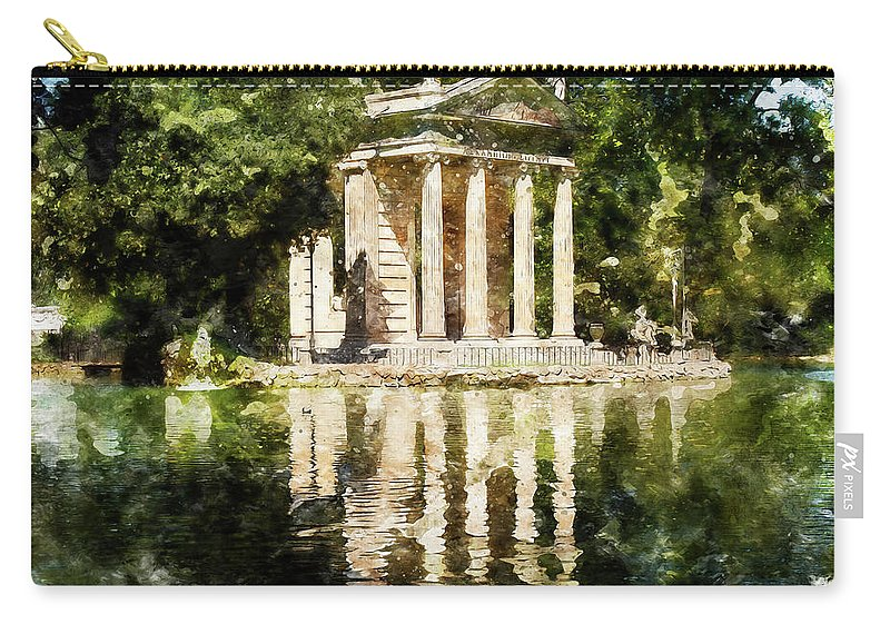 Rome Carry-all Pouch featuring the painting Rome, Ancient Temple Of Aesculapius - 04 by Andrea Mazzocchetti