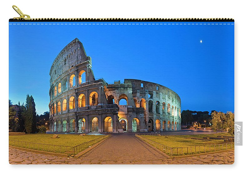 Arch Carry-all Pouch featuring the photograph Rome Coliseum Ancient Roman by Fotovoyager