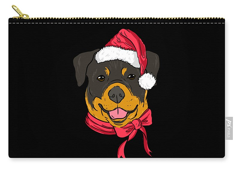 Rottweiler Carry-all Pouch featuring the digital art Rotweiler Xmas Hat Dog Pet Lover Christmas by TeeQueen2603
