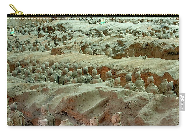 Warrior Carry-all Pouch featuring the photograph Rows Of Terra Cotta Warriors In Pit 1 by Karen Foley