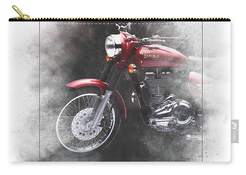 Royal Enfield Carry-all Pouch featuring the mixed media Royal Enfield Bullet Electra Efi Painting by Smart Aviation