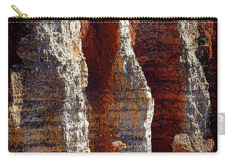 Normandy Carry-all Pouch featuring the photograph Rugged Normandy Cliffs by Olivier Le Queinec