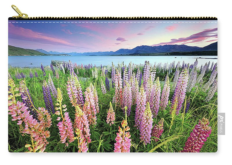 Tranquility Carry-all Pouch featuring the photograph Russel Lupines At Lake Tekapo by Atomiczen