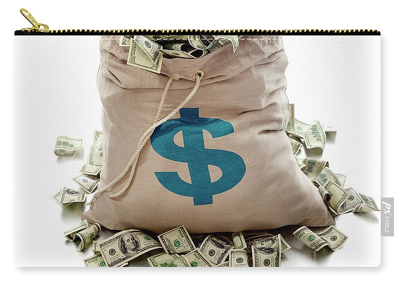 White Background Carry-all Pouch featuring the photograph Sack Of Cash by John Kuczala