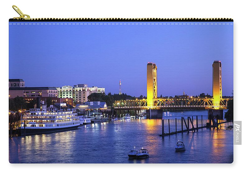 Scenics Carry-all Pouch featuring the photograph Sacramento River And Tower Bridge At by Picturelake